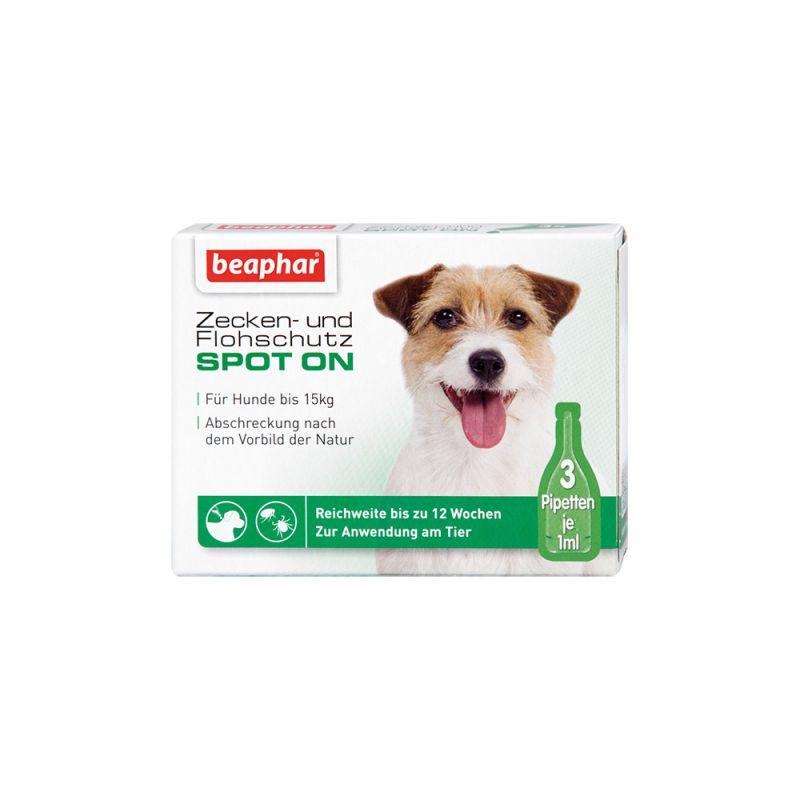 Beaphar   Zecken- und Flohschutz SPOT-ON 3x1ml, für kleine Hunde (bis 15kg)