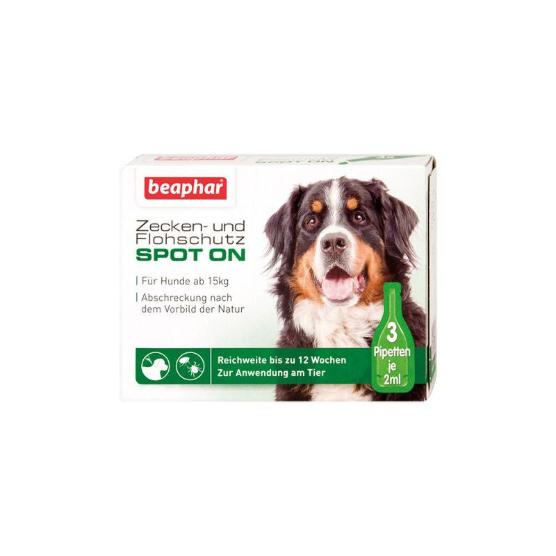 Beaphar   Zecken- und Flohschutz SPOT-ON 3x2ml, für große Hunde (ab 15 kg)