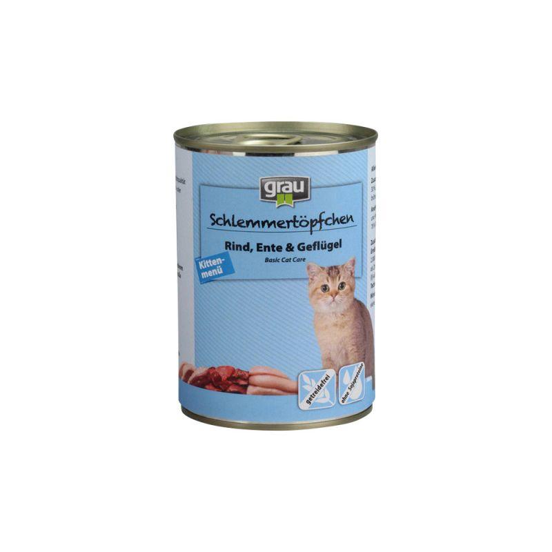 grau | Schlemmertöpfchen Kittenmenü mit Rind, Ente und Geflügel