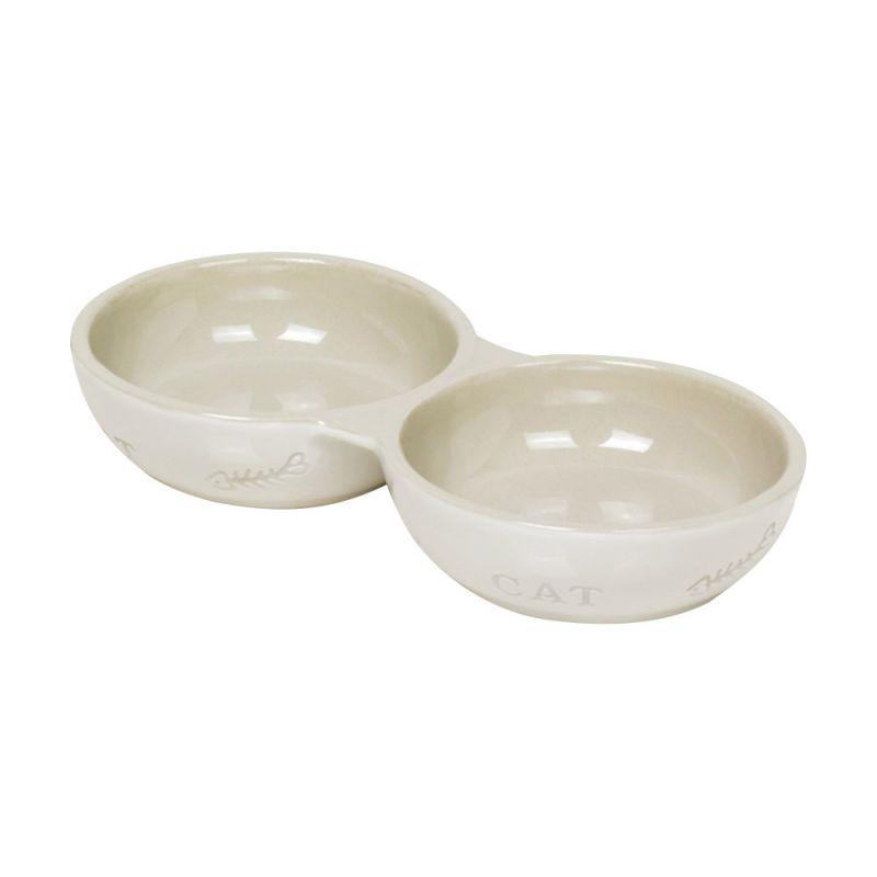 Nobby   Katzen Keramik Doppelnapf CAT weiß / beige