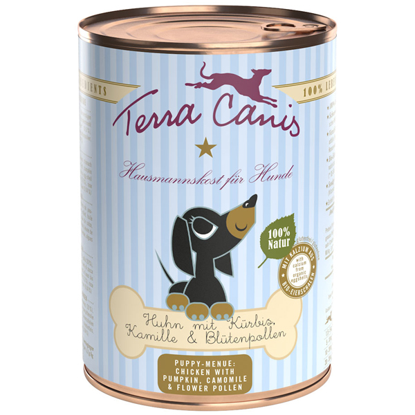 Terra Canis | Welpe Huhn mit Kürbis, Kamille und Blütenpollen