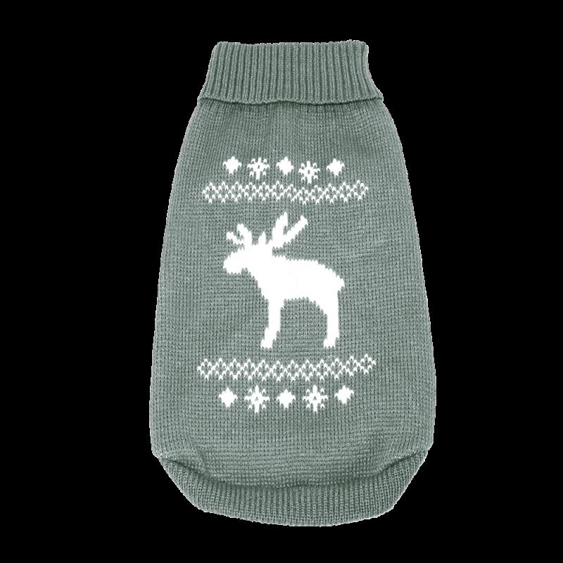 Wolters   Strickpullover mit Elch für Mops&Co in Grau/Weiß
