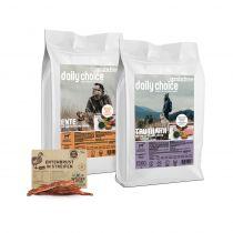 daily choice | Grainfree Trockenfutter Sparpaket | 2 x 15 kg + Wildes Land Snack