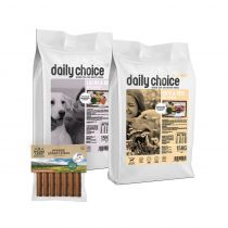 daily choice | Sensitiv Trockenfutter Sparpaket | 2 x 15 kg + Wildes Land Snack