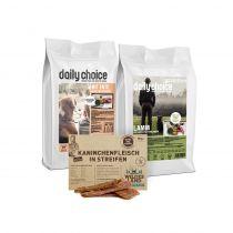 daily choice | Trockenfutter Probierpaket | 2 x 1,5 kg + Wildes Land Snack 70 g