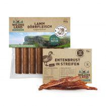 Wildes Land | Snackpaket | Snack in Streifen 250g + Dörrfleisch 7 Stück