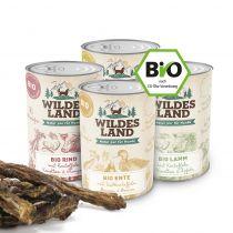 Wildes Land | Bio Nassfutter Sparpaket | 24 x 400 g + Snack 150 g |  1