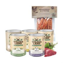 Wildes Land | Nassfutter Sparpaket | 24 x 800 g + Snack 250 g |  1