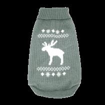 Wolters | Strickpullover mit Elch für Mops&Co in Grau/Weiß