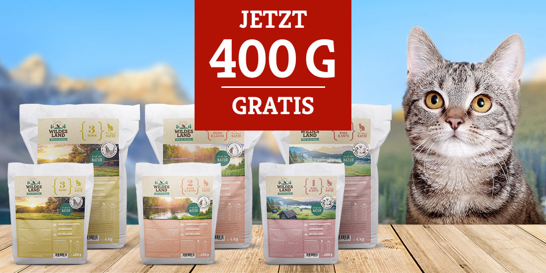 Wildes Land Trockenfutter für Katzen - neu + 400g gratis