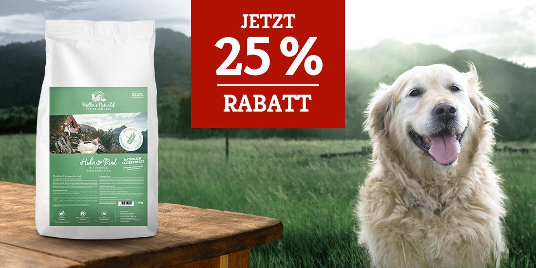 Müllers Naturhof Trockenfutter Aktion - 25% Rabatt auf 15kg Huhn und Rind