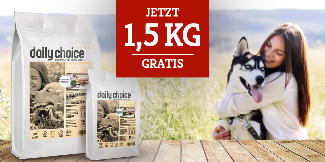 daily choice sensitiv Trockenfutter Aktion - 1,5kg gratis