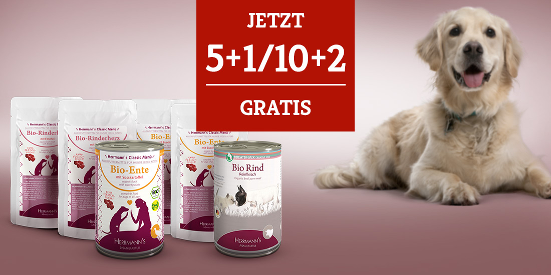 Herrmanns's Hundefutter Nassfutter Aktion - Jetzt 5+1/10+2 gratis