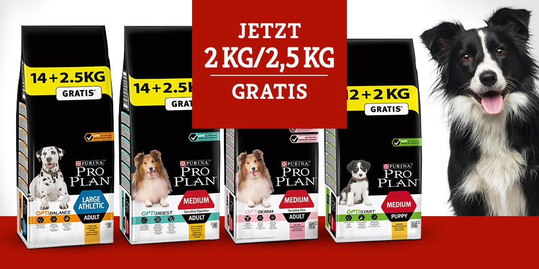 Pro Plan Hundefutter Trockenfutter Overfiller 2/2,5kg gratis