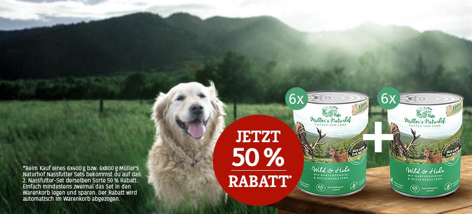 Jetzt Müller's Naturhof Nassfutter-Vorrat sichern: