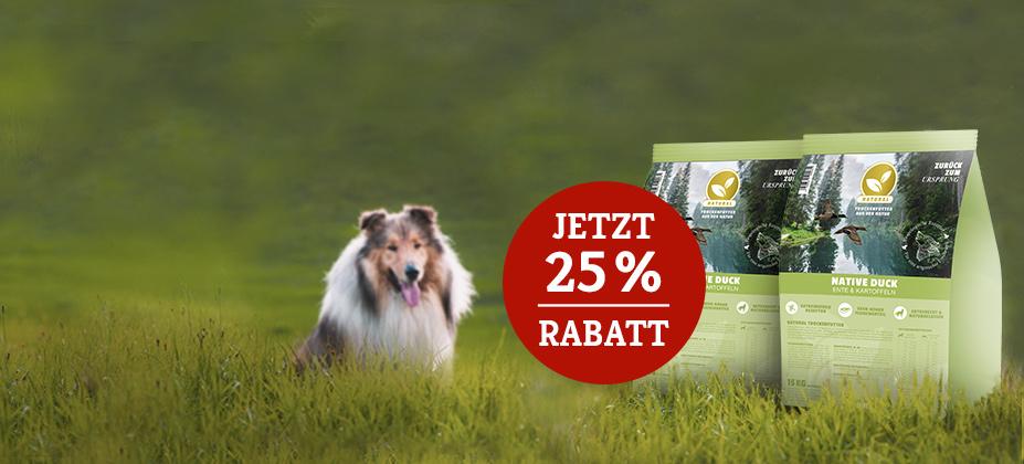 25% Rabatt auf 2. 12,5 bzw. 15kg Natural Trockenfutter Sack