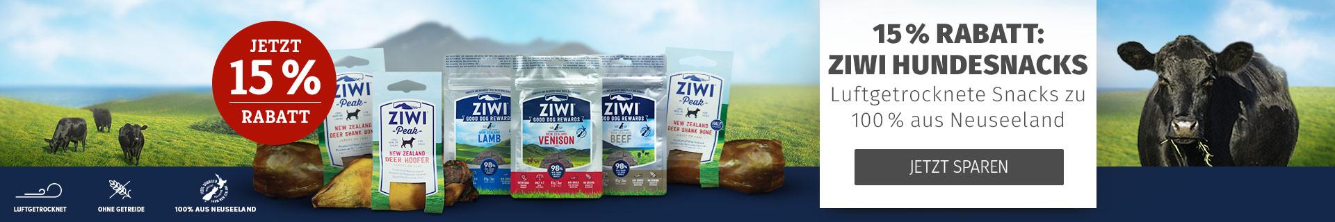 15% Rabatt auf Ziwi Hundesnacks