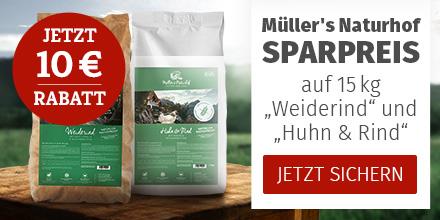 10€ Rabatt auf ausgewählte 15kg Müller's Naturhof Trockenfuttersäcke