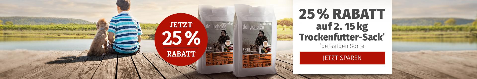 daily choice - 25% Rabatt auf 2. Trockenfutter Sack derselben Sorte