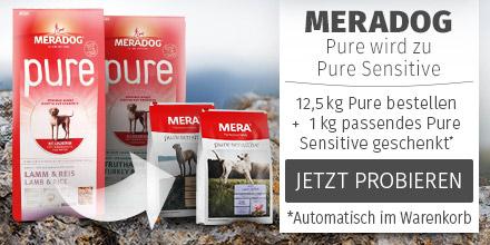 Meradog 12,5kg Trockenfutter + 1kg Pure Sensitive gratis