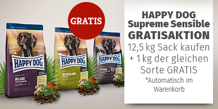 Happy Dog Supreme Sensible 12,5kg + 1kg Trockenfutter geschenkt