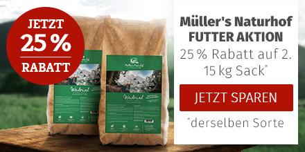 Müller's Naturhof Trockenfutter Aktion - 25% Rabatt auf 2. 15kg Trockenfutter Sack derselben Sorte