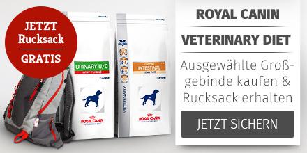 Royal Canin Veterinary Diet ausgewählte Trockenfutter Großgebinde + Rucksack gratis