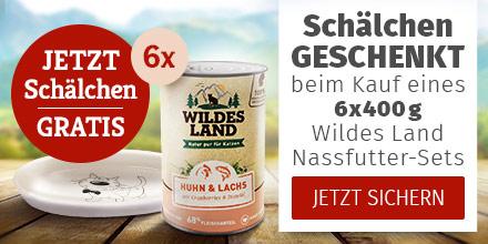 Wildes Land Katze - 6x400g Nassfutter-Set kaufen & Keramikschale gratis erhalten