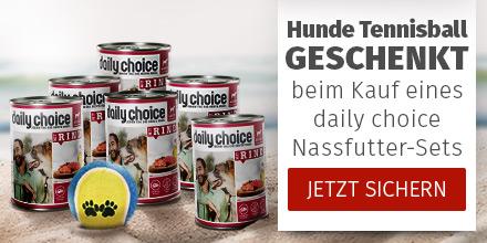 daily choice - Nassfutter-Set bestellen + Tennisball gratis