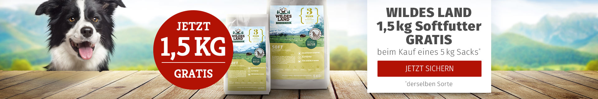 Wildes Land Hund - 5kg Softfutter Sack kaufen + 1,5kg derselben Sorte gratis