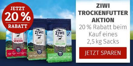 Ziwi Hund - 20% Rabatt auf alle 2,5kg Trockenfuttersäcke