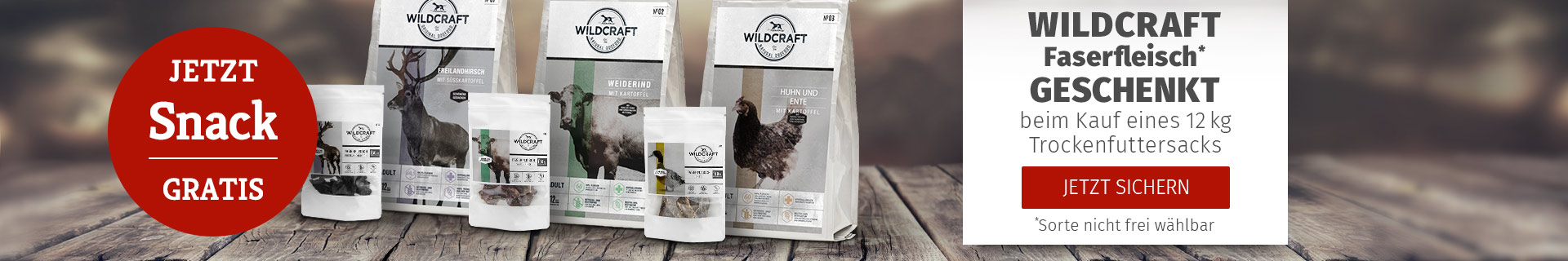 Wildcraft Aktion - 12kg Trockenfuttersack kaufen und Hundesnack Faserfleisch gratis dazu erhalten