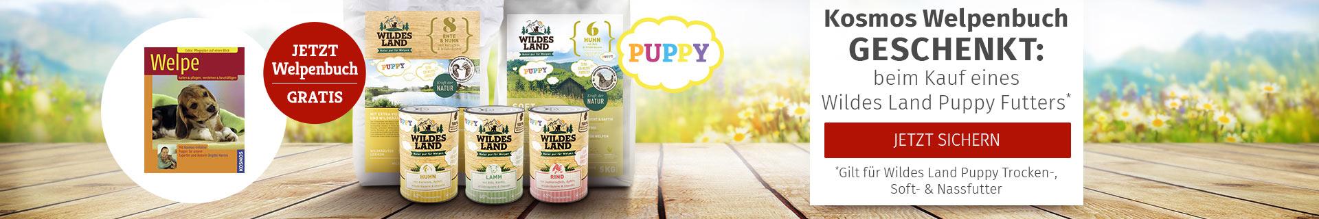 Wildes Land Hund - Puppy Futter kaufen und Kosmos Welpenbuch gratis dazu erhalten
