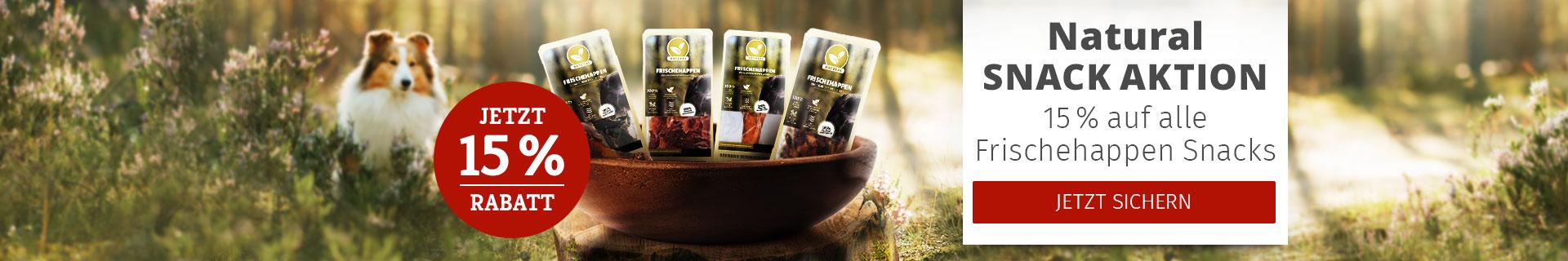 Natural Snack Aktion - 15% Rabatt auf alle Frischehappen Snacks