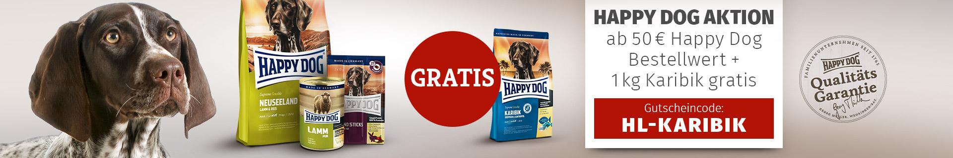 Happy Dog Supreme Sensible Karibik ab 50 EUR Einkauf 1kg gratis erhalten