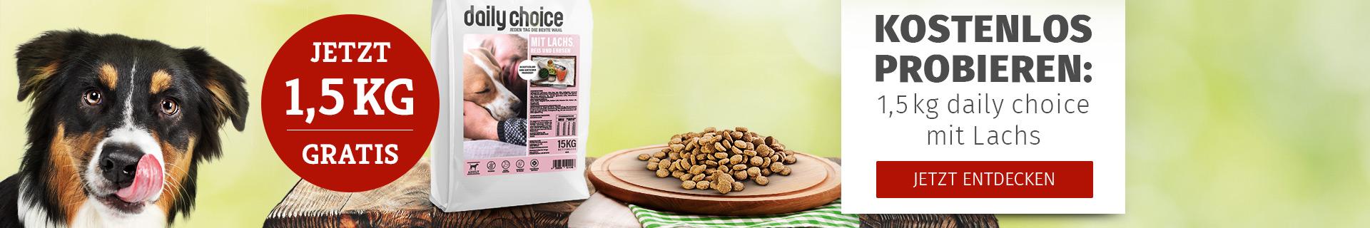 Probierwelt Hund - 1,5kg daily choice Basic Trockenfutter mit Lachs gratis