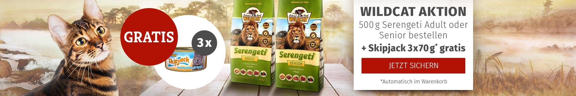 Wildcat Aktion 500g Serengeto Adult oder Senior bestellen + Skipjack 3 x 70g gratis