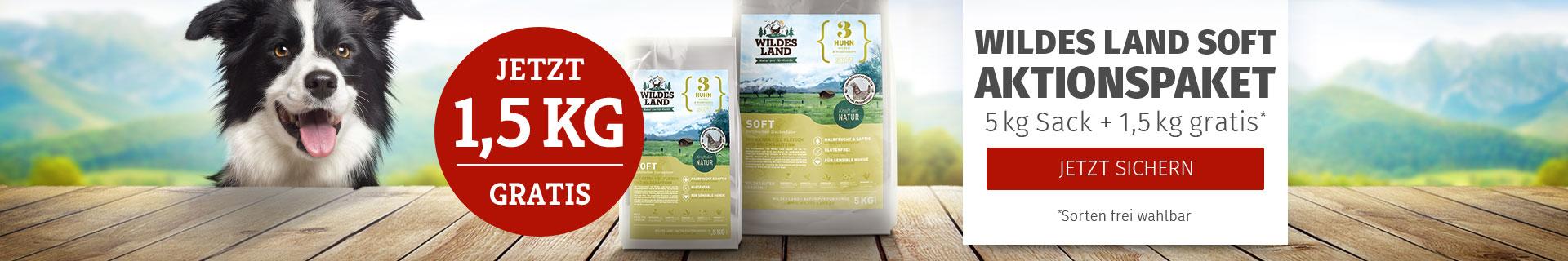 Wildes Land Hund - Softfutter Aktionspaket: 5kg Sack + 1,5kg gratis