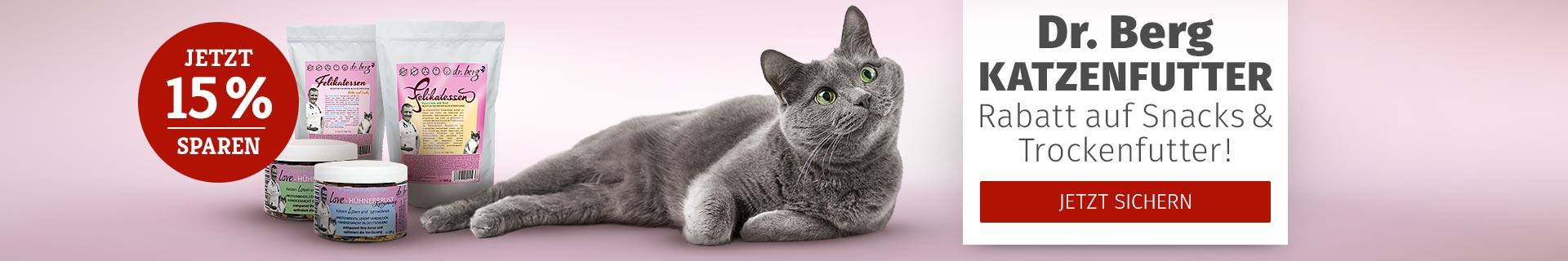 Dr. Berg Katzenfutter Rabatt auf Snacks & Trockenfutter