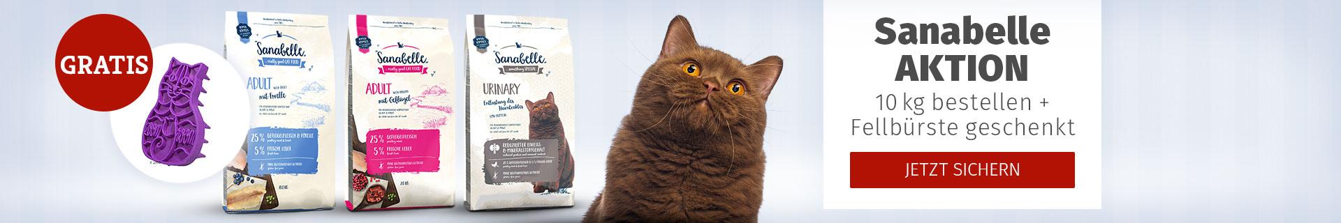 Sanabelle Aktion 10kg bestellen + Katzenfellbürste geschenkt