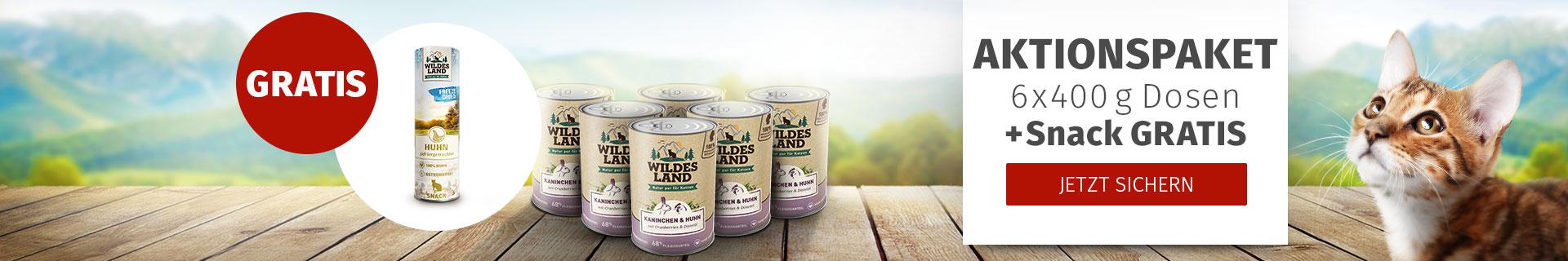 Wildes Land Aktion: 6x400g + Snack gratis