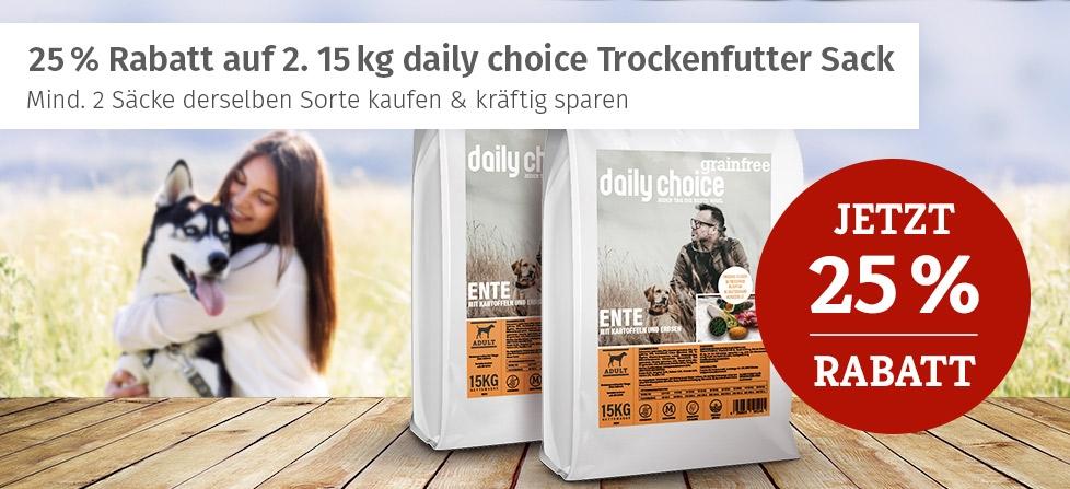 daily choice Trockenfutteraktion - 25% Rabatt auf 2. 15kg Trockenfuttersack derselben Sorte