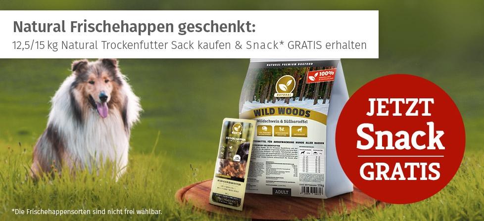 12,5 bzw. 15 kg Natural Trockenfutter Sack kaufen & Frischehappen Snack gratis erhalten